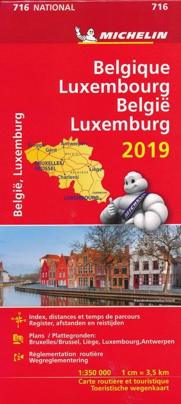 716 Belgie/Luxemb. 1:350.000, met register 2019 9782067236462  Michelin Michelinkaarten Jaaredities  Landkaarten en wegenkaarten België & Luxemburg