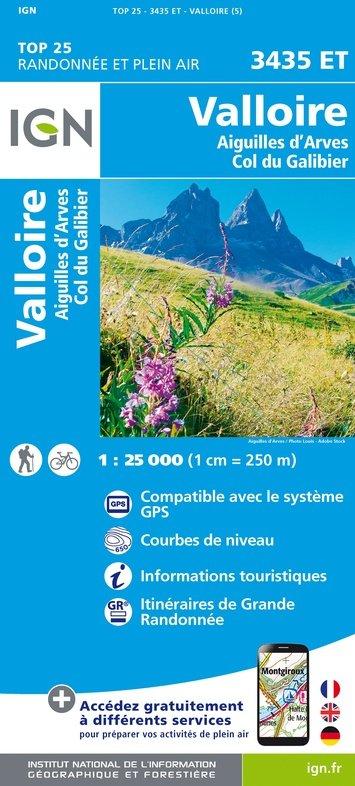 3435ET Valloire, Col du Galibier | wandelkaart 1:25.000 9782758543268  IGN TOP 25  Wandelkaarten Chartreuse, Bauges, Vanoise