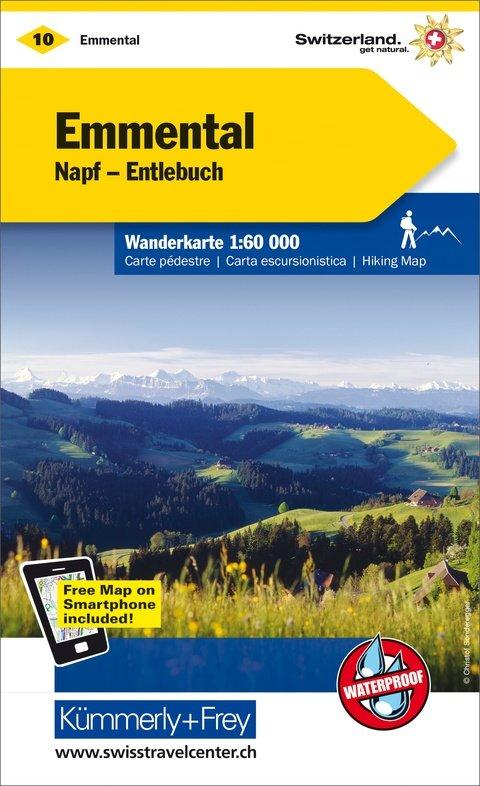 KFW-10  omgeving Emmental | wandelkaart / overzichtskaart 9783259022108  Kümmerly & Frey Wandelkaarten Zwitserland  Wandelkaarten Berner Oberland, Basel, Jura, Genève