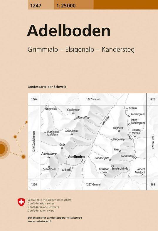 CH-1247  Adelboden [2018] topografische wandelkaart 9783302012476  Bundesamt / Swisstopo LKS 1:25.000  Wandelkaarten Berner Oberland, Basel, Jura, Genève