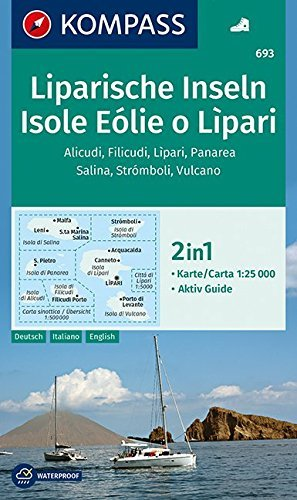 KP-693 Isole Eolie o Lipari | Kompass wandelkaart 9783990443767  Kompass Wandelkaarten   Wandelkaarten Sicilië