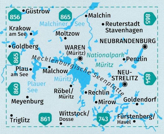 KP-855  Rund um die Müritz   set v 2 kaarten 1:50.000   Kompass 9783990444221  Kompass Wandelkaarten Kompass Duitsland  Wandelkaarten Mecklenburgische Seenplatte
