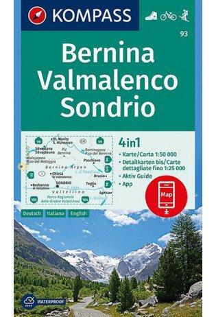 KP-93  Bernina, Sondrio 1:50.000 | Kompass 9783990444368  Kompass Wandelkaarten   Wandelkaarten Ligurië, Piemonte, Lombardije