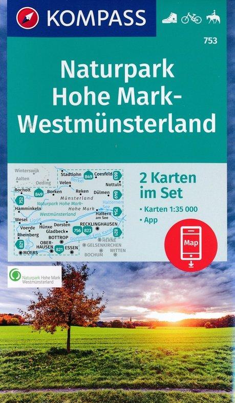 KP-753 NP Hohe Mark   Kompass wandelkaart 9783990444825  Kompass Wandelkaarten Kompass Duitsland  Wandelkaarten Münsterland, Bentheim