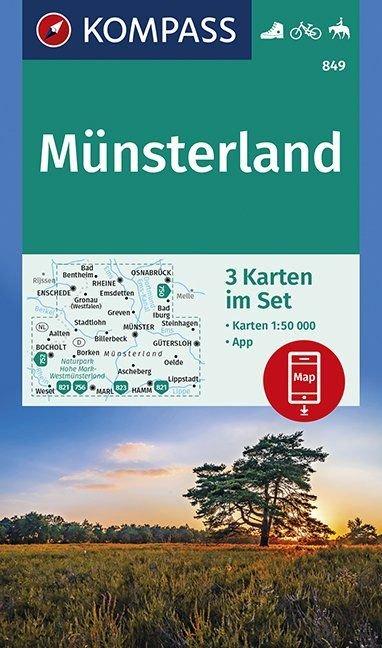 KP-849 Münsterland (kaartenset, 1:50.000) | Kompass 9783990446072  Kompass Wandelkaarten   Wandelkaarten Sauerland, Münsterland, Teutoburger Wald