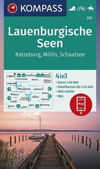 KP-721 Lauenburgische Seen 1:50.000 | Kompass wandelkaart 9783990446119  Kompass Wandelkaarten   Wandelkaarten Schleswig-Holstein, Hamburg, Niedersachsen