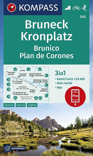 KP-045 Bruneck / Brunico | Kompass wandelkaart 9783990446188  Kompass Wandelkaarten   Wandelkaarten Zuidtirol, Dolomieten, Friuli, Venetië, Emilia-Romagna