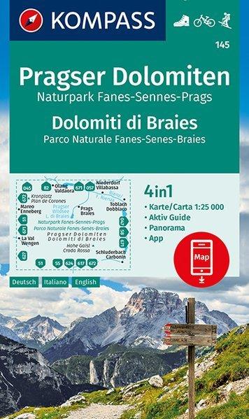 KP-145 Pragser Folomiten | Kompass wandelkaart 9783990446300  Kompass Wandelkaarten Kompass Italië  Wandelkaarten Zuid-Tirol, Dolomieten