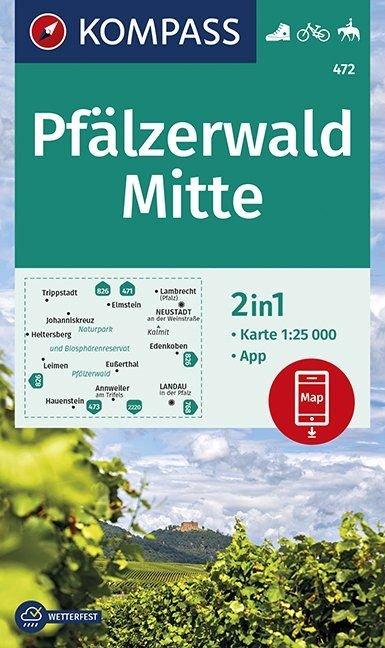 KP-472  Pfälzerwald Mitte 1:25.000 9783990446904  Kompass Wandelkaarten   Wandelkaarten, Wijnreisgidsen Eifel, Moezel, Rheinland-Pfalz