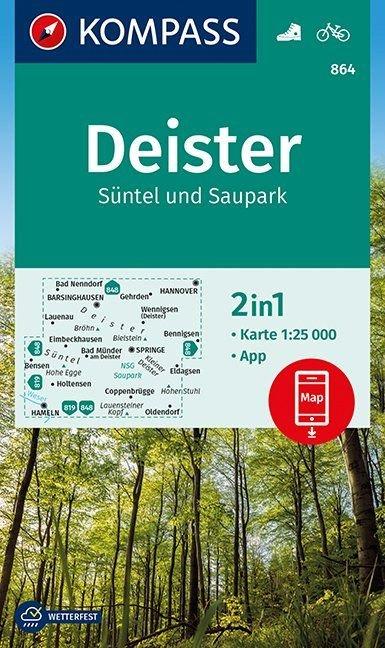 KP-864  Deister 1:25.000 9783990446928  Kompass Wandelkaarten Kompass Duitsland  Wandelkaarten Hannover, Weserbergland