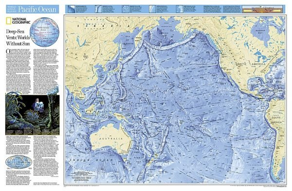 Pacific Ocean - flat map 9780792249528  National Geographic   Wandkaarten Pacifische Oceaan (Pacific)