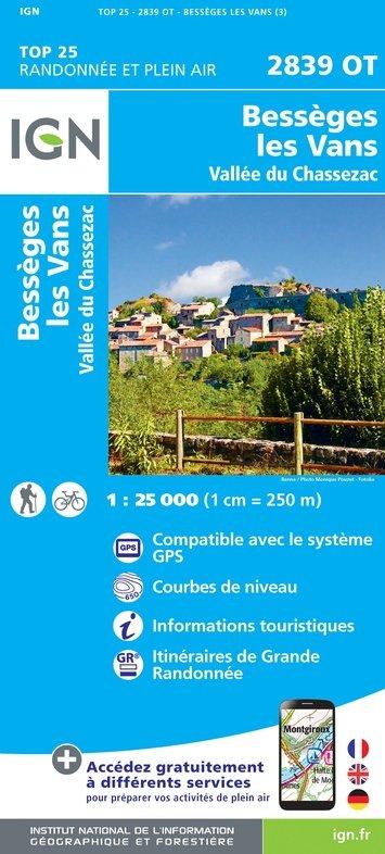 2839OT Les-Vans, Bessèges 2839 OT | wandelkaart 1:25.000 9782758545460  IGN TOP 25  Wandelkaarten Ardèche, Cevennen, Lozère, Gard en Aveyron