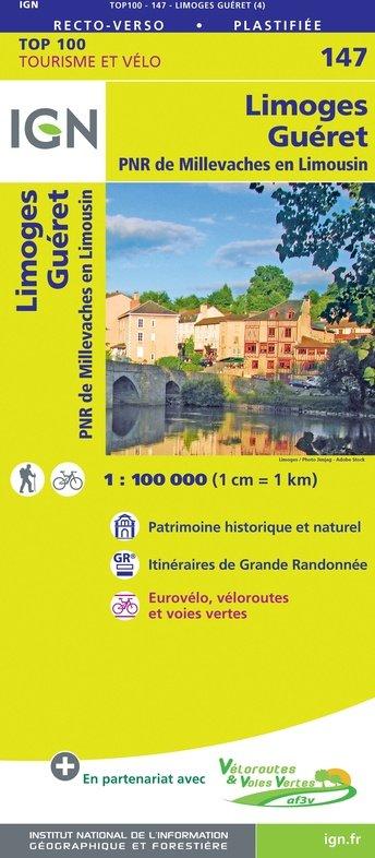 SV-147  Limoges, Guéret | omgevingskaart / fietskaart 1:100.000 9782758547631  IGN Série Verte 1:100.000  Fietskaarten, Landkaarten en wegenkaarten Haute-Vienne, Creuse, Corrèze