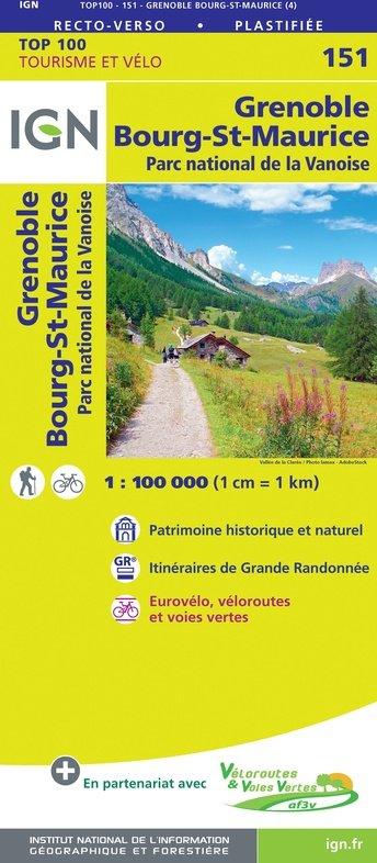 SV-151  Grenoble, Chambéry | omgevingskaart / fietskaart 1:100.000 9782758547655  IGN Série Verte 1:100.000  Fietskaarten, Landkaarten en wegenkaarten Chartreuse, Bauges, Vanoise