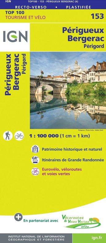 SV-153  Périgueux, Bergerac | omgevingskaart / fietskaart 1:100.000 9782758547679  IGN Série Verte 1:100.000  Fietskaarten, Landkaarten en wegenkaarten Dordogne, Lot, Tarn