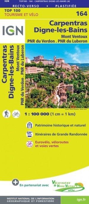 SV-164  Carpentras, Digne-les-Bains 9782758547730  IGN Série Verte 1:100.000  Fietskaarten, Landkaarten en wegenkaarten tussen Valence, Briançon, Camargue en Nice