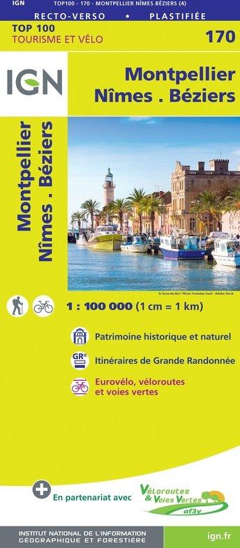 SV-170  Nîmes, Montpellier | omgevingskaart / fietskaart 1:100.000 9782758547785  IGN Série Verte 1:100.000  Fietskaarten, Landkaarten en wegenkaarten Languedoc, Hérault, Aude