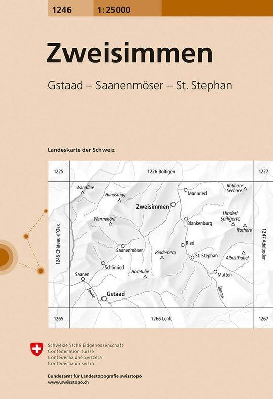 CH-1246  Zweisimmen [2018] topografische wandelkaart 9783302012469  Bundesamt / Swisstopo LKS 1:25.000  Wandelkaarten Berner Oberland, Basel, Jura, Genève