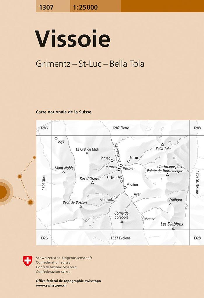 CH-1307  Vissoie [2018] topografische wandelkaart 9783302013077  Bundesamt / Swisstopo LKS 1:25.000  Wandelkaarten Wallis