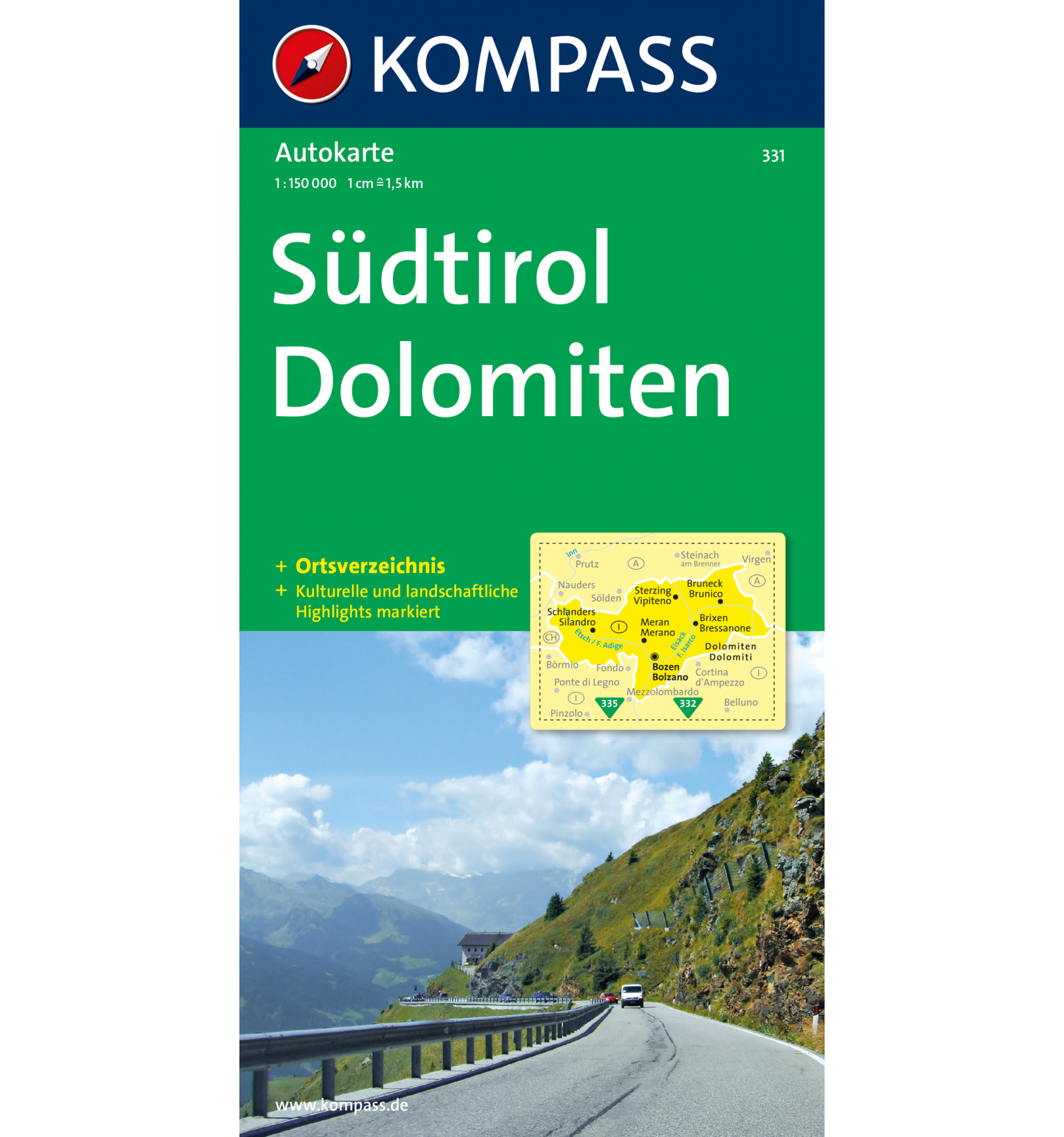KP-331 Südtirol, Dolomiten Autokarte 1:150.000 9783854911838  Kompass   Landkaarten en wegenkaarten Zuidtirol, Dolomieten, Friuli, Venetië, Emilia-Romagna