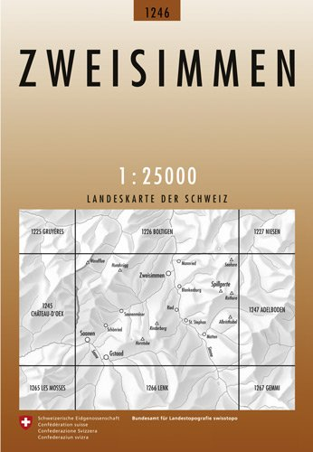 CH-1246  Zweisimmen [2012] topografische wandelkaart * CH1246  Bundesamt / Swisstopo LKS 1:25.000  Wandelkaarten Berner Oberland, Basel, Jura, Genève