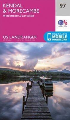 LR-097 Kendal to Morecambie, Windermere, Lancaster   topografische wandelkaart 9780319263402  Ordnance Survey Landranger Maps 1:50.000  Wandelkaarten Lake District