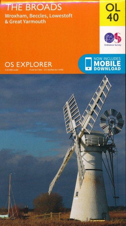 EXP-040  The Broads  OL40 | wandelkaart 1:25.000 9780319263549  Ordnance Survey Explorer Maps 1:25t.  Wandelkaarten Midden- en Oost-Engeland