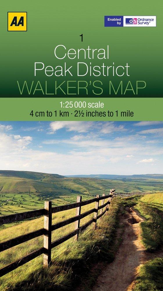 AOS-01  AA Walker's Map Central Peak District 1:25.000 9780749573140  AA AA / Ordnance Survey  Wandelkaarten Midden- en Oost-Engeland