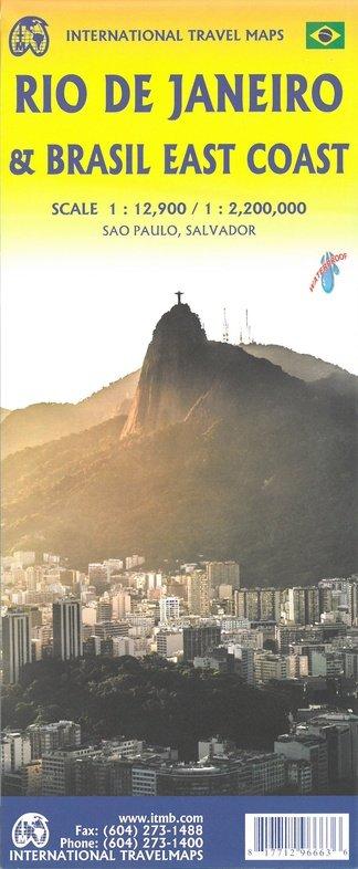 Rio de Janeiro stadsplattegrond 1:13.000 / Oostkust Brazilië wegenkaart 1:2,2m. 9781771296663  ITM   Stadsplattegronden Brazilië