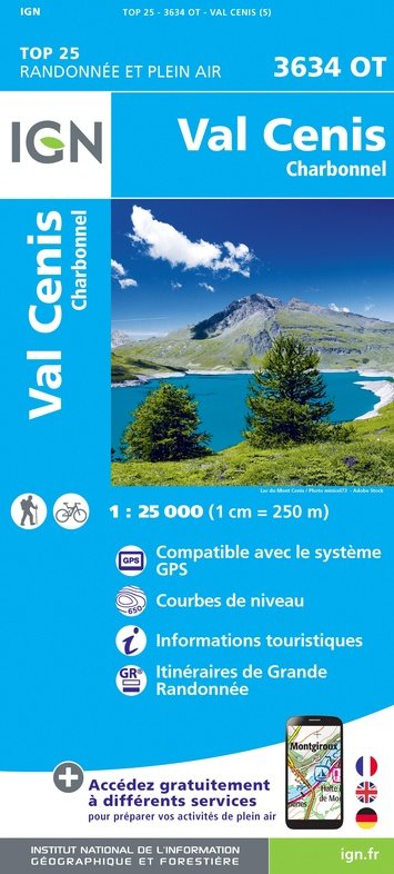 3634OT  Val Cenis, Charbonnel | wandelkaart 1:25.000 9782758543329  IGN TOP 25  Wandelkaarten Chartreuse, Bauges, Vanoise
