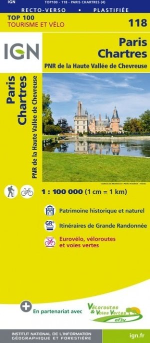 SV-118  Paris, Chartres | omgevingskaart / fietskaart 1:100.000 9782758543664  IGN Série Verte 1:100.000  Fietskaarten, Landkaarten en wegenkaarten Parijs, Île-de-France