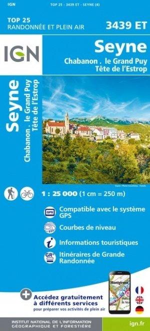 3439ET  Seyne, Col de Maure   wandelkaart 1:25.000 9782758545637  IGN TOP 25  Wandelkaarten Alpes de Haute-Provence, Gorges du Verdon