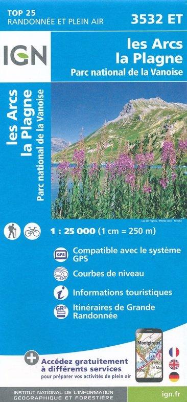 3532ET Les Arcs, La Plagne | wandelkaart 1:25.000 9782758547167  IGN TOP 25  Wandelkaarten Chartreuse, Bauges, Vanoise