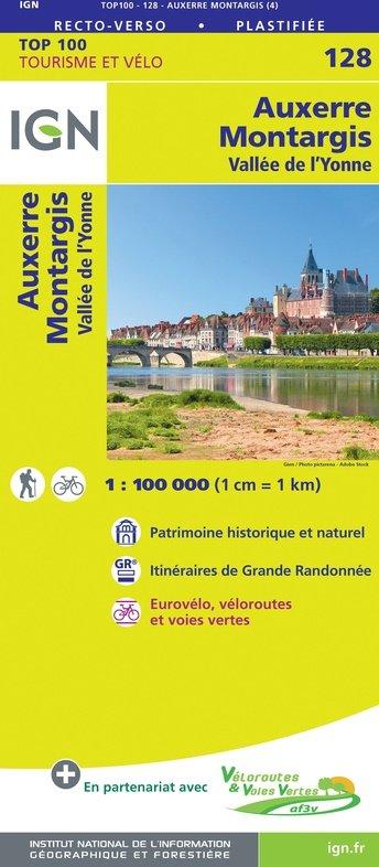 SV-128  Auxerre, Montargis 9782758547549  IGN Série Verte 1:100.000  Fietskaarten, Landkaarten en wegenkaarten Bourgogne, Morvan, Côte-d'Or