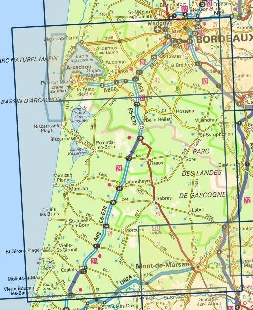 SV-152  Bordeaux, Mont de Marsan 9782758547662  IGN Série Verte 1:100.000  Fietskaarten, Landkaarten en wegenkaarten Aquitaine, Bordeaux