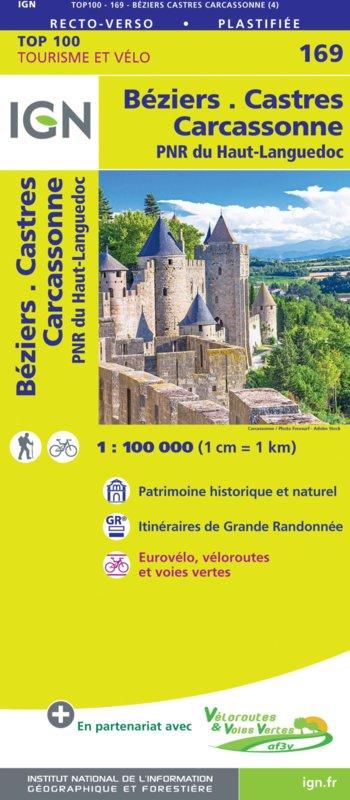 SV-169  Béziers, Castres | omgevingskaart / fietskaart 1:100.000 9782758547778  IGN Série Verte 1:100.000  Fietskaarten, Landkaarten en wegenkaarten Languedoc, Hérault, Aude