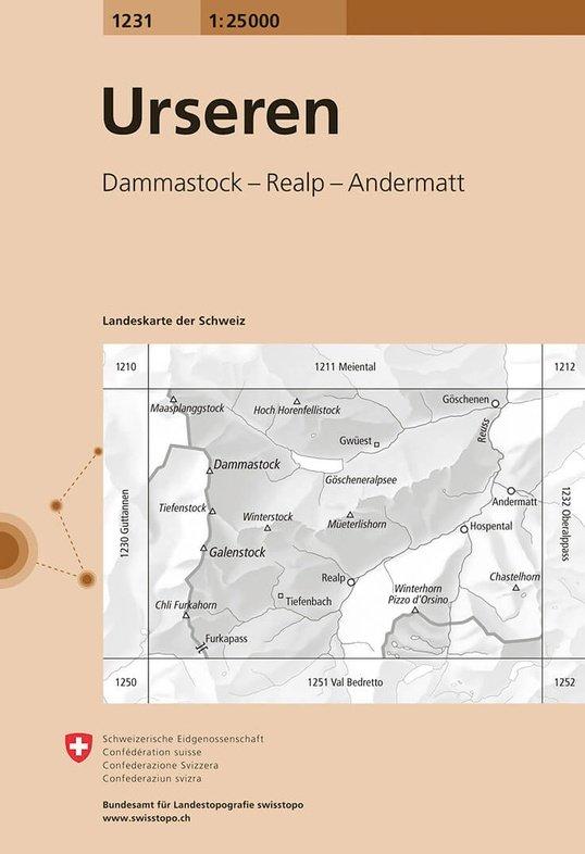 CH-1231  Urseren [2015] topografische wandelkaart 9783302012315  Bundesamt / Swisstopo LKS 1:25.000  Wandelkaarten Graubünden, Tessin