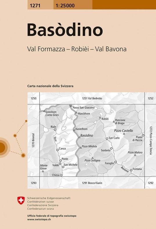CH-1271  Basodino [2014] topografische wandelkaart 9783302012711  Bundesamt / Swisstopo LKS 1:25.000  Wandelkaarten Graubünden, Tessin