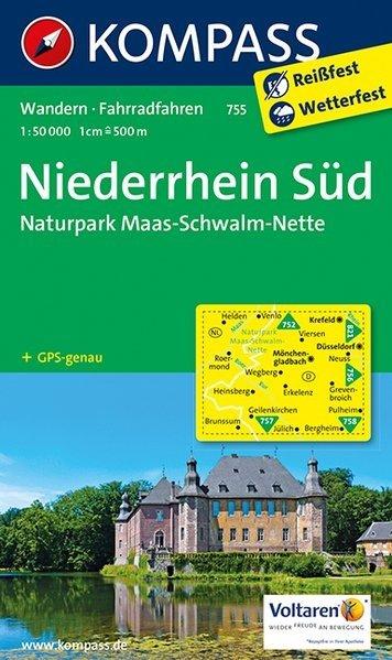 KP-755  Niederrhein Süd | Kompass wandelkaart 1:50.000 * 9783854915140  Kompass Wandelkaarten   Lopen naar Rome, Wandelkaarten Niederrhein, Ruhrgebied, Keulen