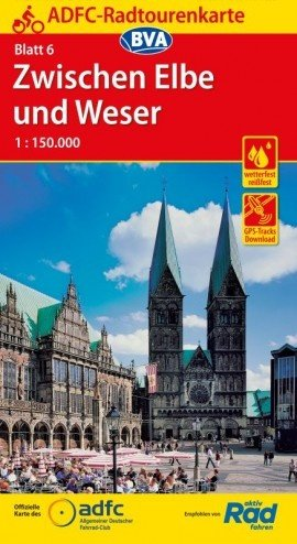 ADFC-06  Zwischen Elbe und Weser | fietskaart 1:150.000 9783870738259  ADFC / BVA Radtourenkarten 1:150.000  Fietskaarten Schleswig-Holstein, Hamburg, Niedersachsen