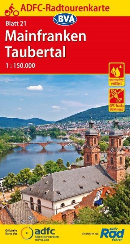 ADFC-21 Mainfranken/Taubertal | fietskaart 1:150.000 9783870738839  ADFC / BVA Radtourenkarten 1:150.000  Fietskaarten Franken, Nürnberg, Altmühltal