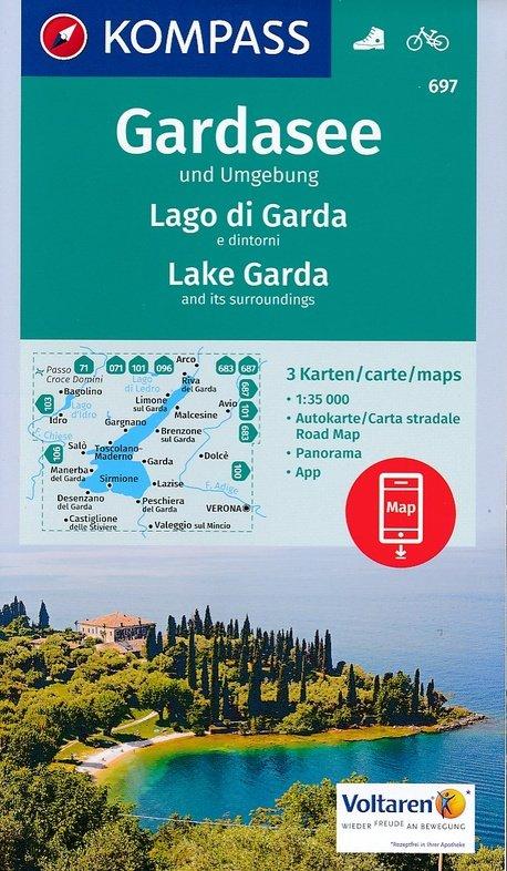KP-697  Gardasee / Gardameer en omgeving 1:35.000   Kompass wandelkaart 9783990443095  Kompass Wandelkaarten   Wandelkaarten Zuidtirol, Dolomieten, Friuli, Venetië, Emilia-Romagna