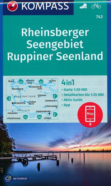 KP-743 Rheinsberger Seengebiet, Ruppiner Land   Kompass wandelkaart 9783990443927  Kompass Wandelkaarten Kompass Duitsland  Wandelkaarten Brandenburg & Sachsen-Anhalt