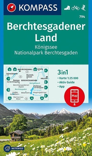 KP-794  Berchtesgadener Land | Kompass wandelkaart 9783990444184  Kompass Wandelkaarten Kompass Duitsland  Wandelkaarten Beierse Alpen