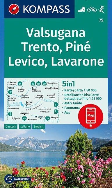KP-75 Valsugana, Trento, Piné 1:50.000 | Kompass wandelkaart 9783990444382  Kompass Wandelkaarten   Wandelkaarten Zuidtirol, Dolomieten, Friuli, Venetië, Emilia-Romagna
