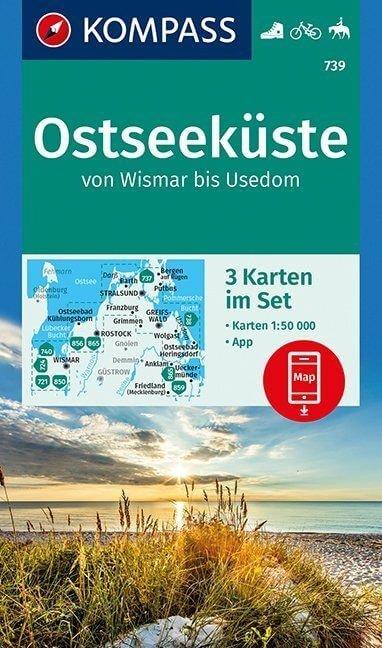 KP-739 Ostseeküste van Wismar tot Usedom | Kompass wandelkaart 9783990445228  Kompass Wandelkaarten   Wandelkaarten Mecklenburg-Vorpommern, Rügen