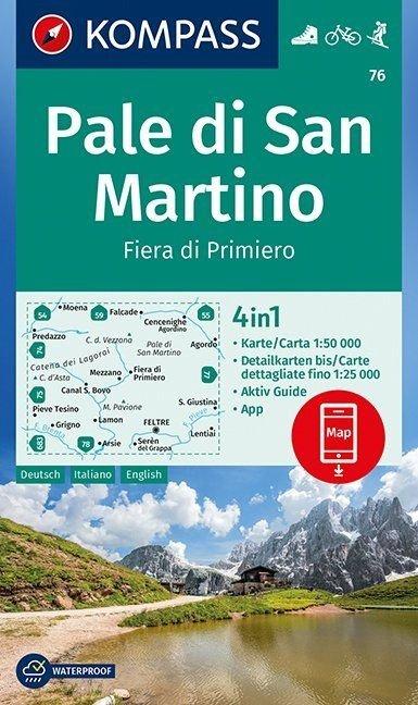 KP-76 Pale di San Martino 1:50.000 | Kompass wandelkaart 9783990445235  Kompass Wandelkaarten   Wandelkaarten Zuidtirol, Dolomieten, Friuli, Venetië, Emilia-Romagna