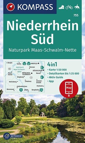 KP-755  Niederrhein Süd | Kompass wandelkaart 1:50.000 9783990446058  Kompass Wandelkaarten Kompass Duitsland  Lopen naar Rome, Wandelkaarten Niederrhein