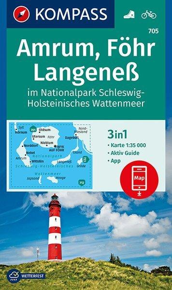 KP-705 Amrum/Föhr/Langeness | Kompass wandelkaart 1:35.000 9783990446102  Kompass Wandelkaarten   Wandelkaarten Schleswig-Holstein, Hamburg, Niedersachsen