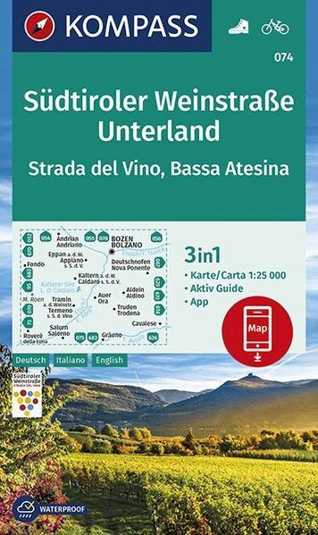 KP-074 Südtiroler Weinstrasse Unterland | Kompass wandelkaart 1:25.000 9783990446591  Kompass Wandelkaarten   Wandelkaarten, Wijnreisgidsen Zuidtirol, Dolomieten, Friuli, Venetië, Emilia-Romagna